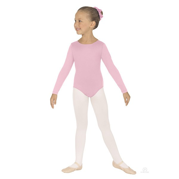 Eurotard 44265C Long Sleeve Microfiber Leotard - Child pink