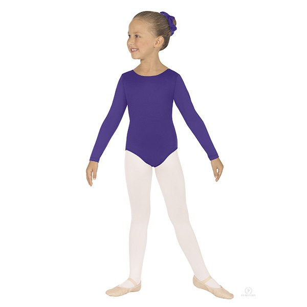 Eurotard 44265C Long Sleeve Microfiber Leotard - Child purple