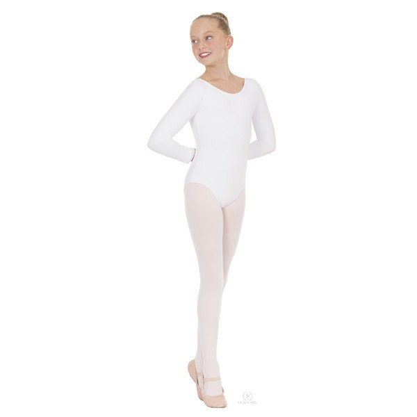 Eurotard 44265C Long Sleeve Microfiber Leotard - Child white