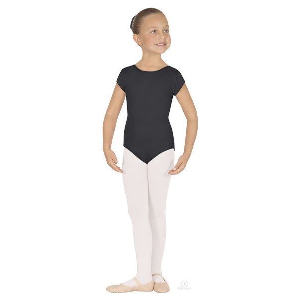 Eurotard 44475C Short Sleeve Microfiber Leotard - Child black