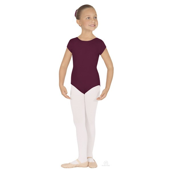 Eurotard 44475C Short Sleeve Microfiber Leotard - Child burgundy