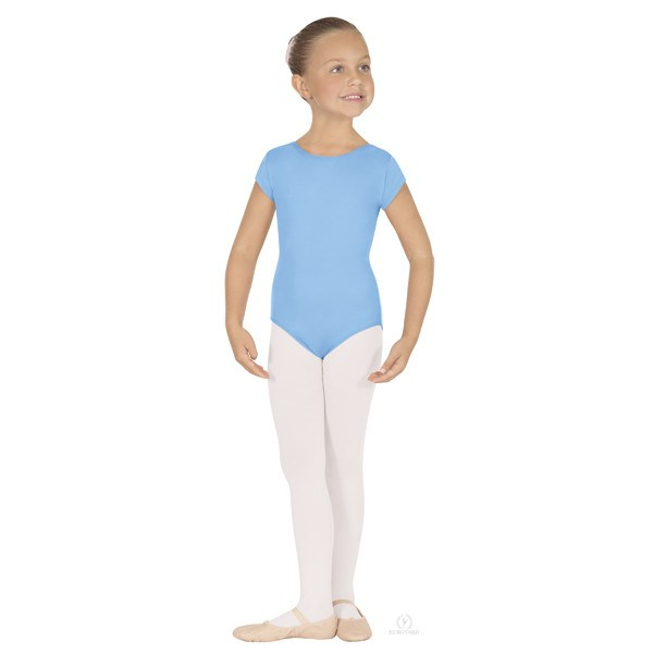 Eurotard 44475C Short Sleeve Microfiber Leotard - Child light blue
