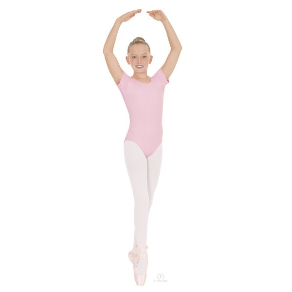 Eurotard 44475C Short Sleeve Microfiber Leotard - Child pink