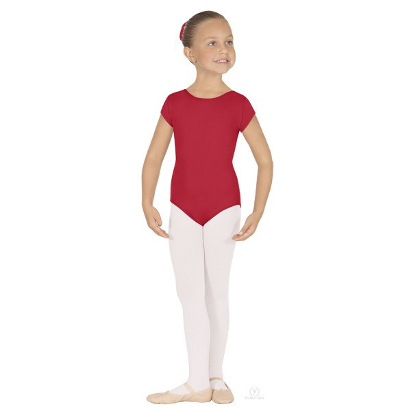 Eurotard 44475C Short Sleeve Microfiber Leotard - Child red