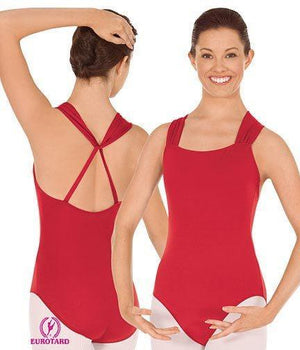 "Britney ""A"" Line Halter Leotard Red"