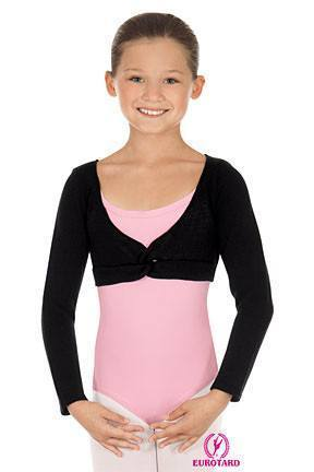 Child Twist Front Crop Sweater Black