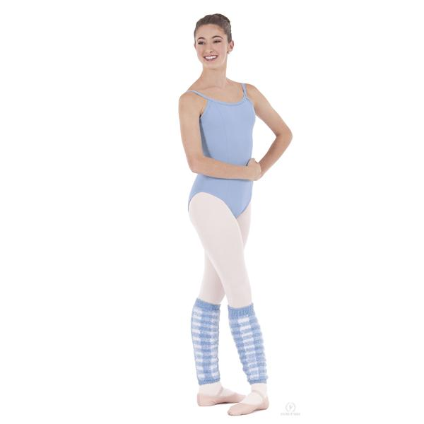 "Eurotard Adult 18"" Plush Plaid Leg warmer light blue white"