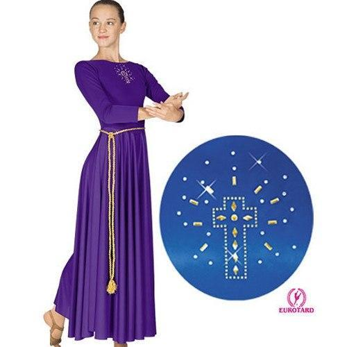 Eurotard Polyester Dress with Shining Cross Applique - Adult