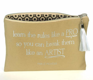 B PLUS PRINTWORKS  Canvas Cosmetic Bag - Pablo Picasso Quote