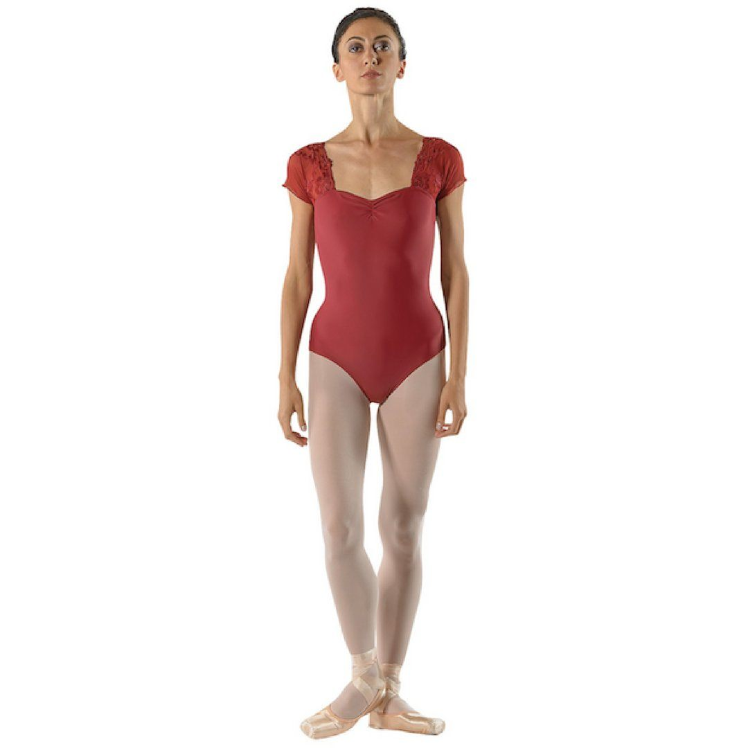 69807bf1a6a0 Ballet Rosa Justine Leotard | Lace Short Sleeve Leotard