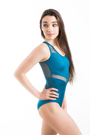Eurotard 59898 Arrow Mesh Tank Leotard - Adult peacock