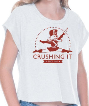 Crushing It - Red Nutcracker -  White Crop Tee