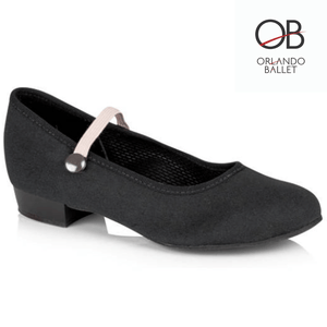 "Orlando Ballet OBS-CCH1 Black Canvas Character 1"" Low Heel"