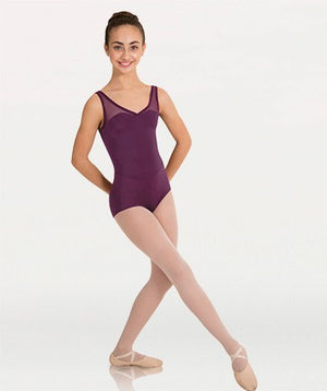 Tiler Peck Bodywrappers P1001 Power Mesh Yokes Leotard Burgundy