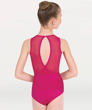 Body Wrappers P1006 Power Mesh Slit Back Leotard fuchsia