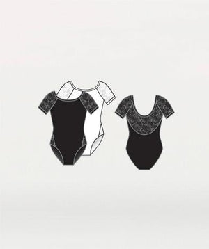 Body Wrappers P1082 Lace Short Sleeve Leotard - detail