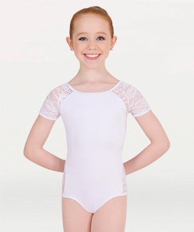 35f1f483c2eb0 Body Wrappers P1082 Lace Short Sleeve Leotard child white