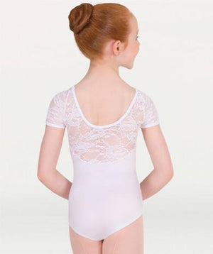 Body Wrappers P1082 Lace Short Sleeve Leotard child white