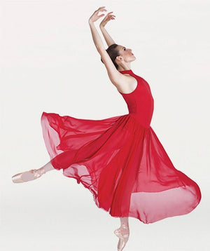 Body Wrappers P733 Long Mock T-Neck Dance Dress red