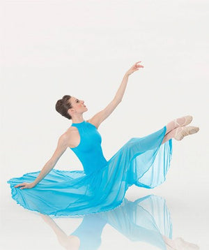Body Wrappers P733 Long Mock T-Neck Dance Dress sea breeze