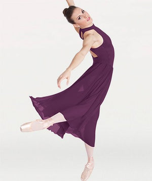 Body Wrappers P733 Long Mock T-Neck Dance Dress plum