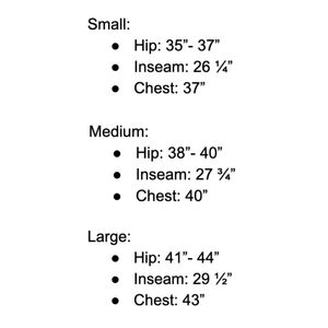 Rae Boutique Mens Sizing Chart