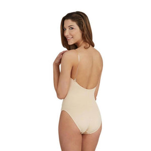 Capezio Camisole Leotard with Clear Transition Straps - Tan - Back - Style:3532