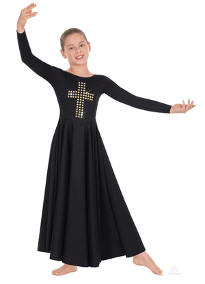 11028C Eurotard Child Gold Cross Dress Black