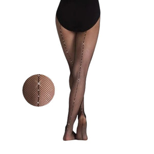 Body Wrappers Adult Rhinestone Seamed Fishnet Tights
