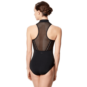 Women Mesh Mock Neck Dance Leotard Rufina