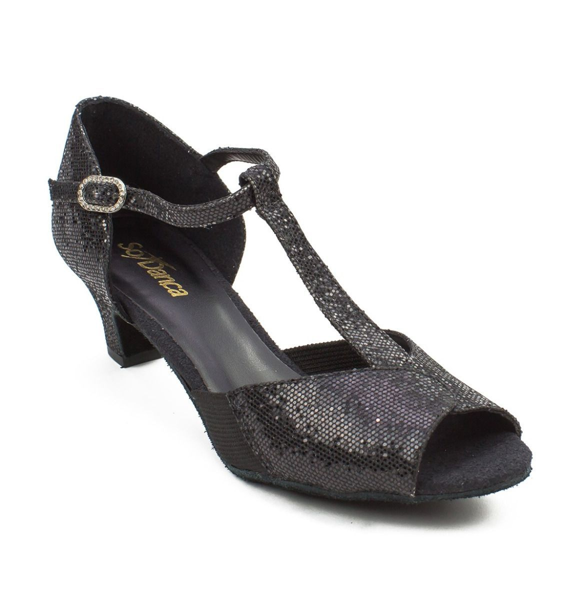 T-Strap Ballroom Dance Shoe Black Sparkle
