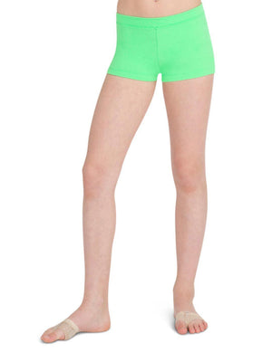 Capezio Boys Cut Low Rise Short - Girls - Green - Front - Style:TB113C