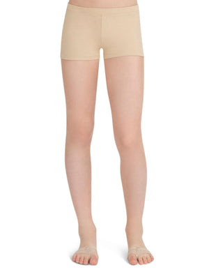 Capezio Boys Cut Low Rise Short - Girls - Tan - Front - Style:TB113C