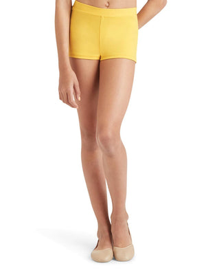 Capezio Boys Cut Low Rise Short - Girls - Yellow - Front - Style:TB113C