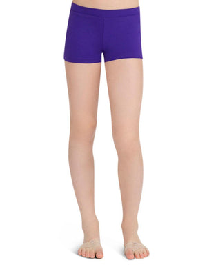 Capezio Boys Cut Low Rise Short - Girls - Purple - Front - Style:TB113C