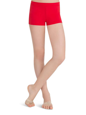 Capezio Boys Cut Low Rise Short - Girls - Red - Front - Style:TB113C