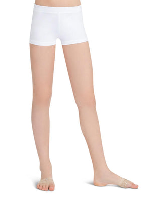 Capezio Boys Cut Low Rise Short - Girls - White - Front - Style:TB113C