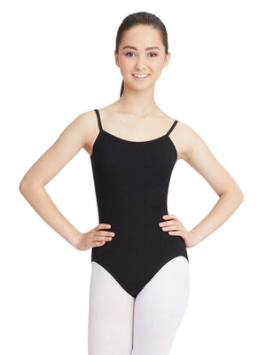 Capezio Camisole Leotard w/ Adjustable Straps - Black - Front - Style:CC100