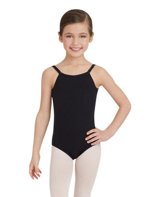 Capezio Camisole Leotard w/ Adjustable Straps - Girls - Black - Front - Style:TB1420C