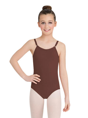 Capezio Camisole Leotard w/ Adjustable Straps - Girls - Brown - Front - Style:TB1420C