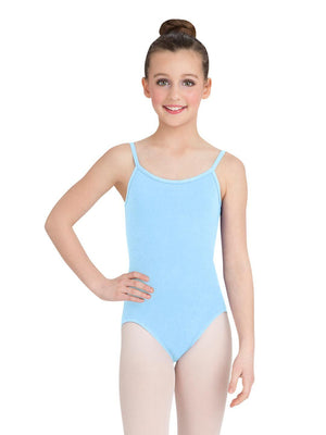 Capezio Camisole Leotard w/ Adjustable Straps - Girls - Blue - Front - Style:CC100C