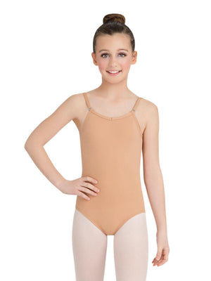 Capezio Camisole Leotard w/ Adjustable Straps - Girls - Tan - Front - Style:TB1420C