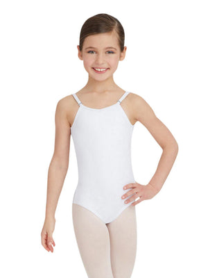 Capezio Camisole Leotard w/ Adjustable Straps - Girls - White - Front - Style:TB1420C