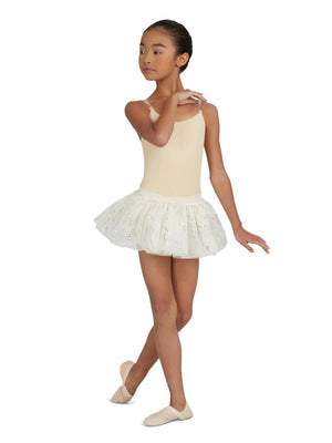 Capezio Camisole Leotard w/ Clear Transition Straps - Girls - Tan - Front - Style:3532C