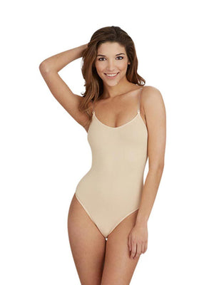 Capezio Camisole Leotard with Clear Transition Straps - Tan - Front - Style:3532