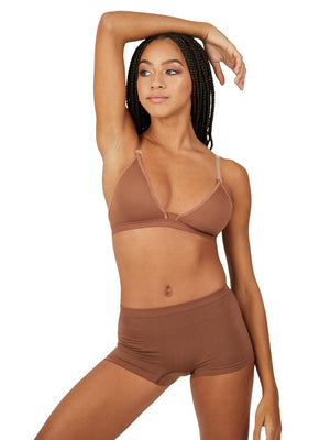 Capezio Deep Neck Clear Back Bra - Girls - Brown - Front - Style:3777T