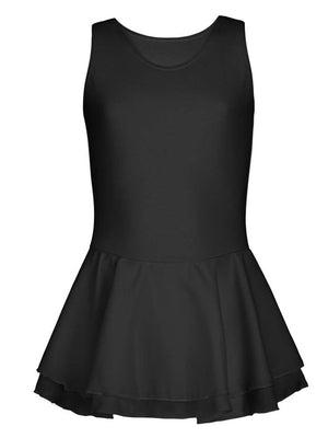 Capezio Double Layer Skirt Tank Dress - Girls - Black - Front - Style:CC877C