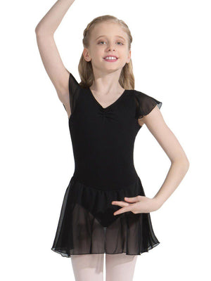 Capezio Flutter Sleeve Dress - Girls - Black - Style:11305C