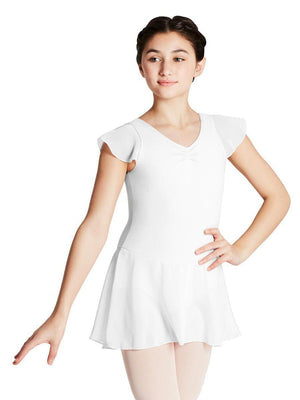 Capezio Flutter Sleeve Dress - Girls - White - Style:11305C