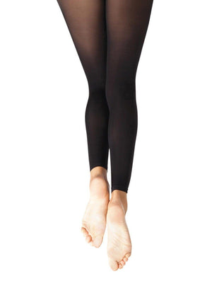 Capezio Footless Tight w Self Knit Waist Band - Girls - Black - Style:1917X